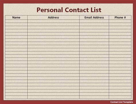 contact list template  printable ms word format