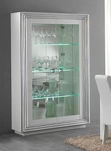 Vitrine Blanc Laqué : vitrine 2 portes avec leds pour etageres silver laque blanc ~ Teatrodelosmanantiales.com Idées de Décoration
