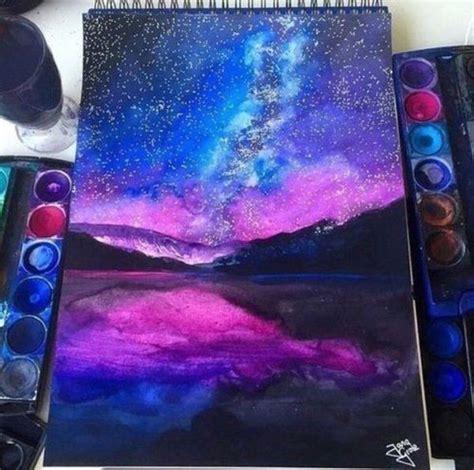 Galaxy Painting Watercolor Lake Sky Reflection Art