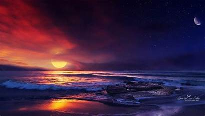 Ocean Sunset Illustration Resolution Wallpapers 4k 1080p