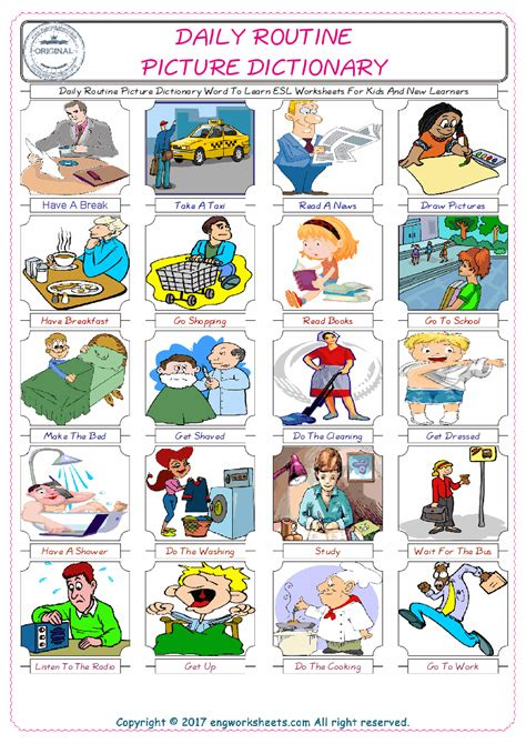 daily routine picture dictionary word to learn esl