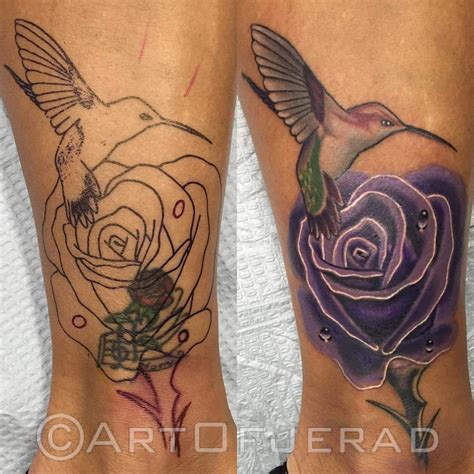 hummingbird cover up tattoo rose cover up with hummingbird on ankle tattoos cover