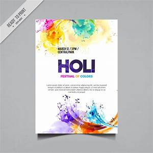 Colored Watercolor Stains Holi Flyer Free Vector