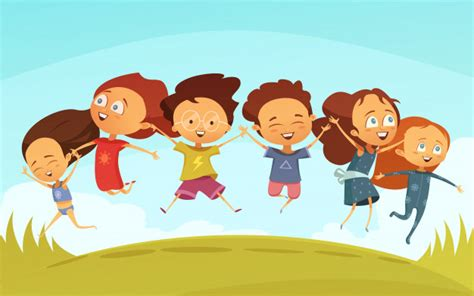 Cartoon Team Of Cheerful Friends Holding Hands Vector