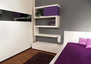 Modern, Bedroom, Design, With, Unusual, Wall, Shelves