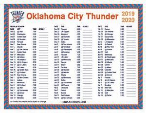 Microsoft Calanders Printable 2019 2020 Oklahoma City Thunder Schedule