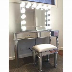 Mirrored, 2, Drawers, Makeup, Vanity, Dressing, Table
