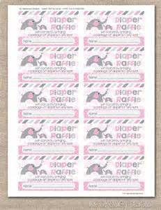 Elephant Diaper Raffle Tickets Printable