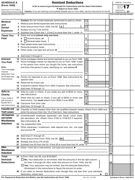 irs form 1040 download fillable pdf 2017 schedule a