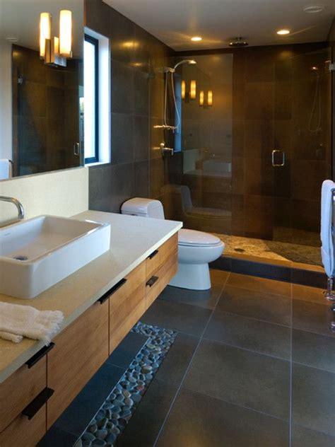 charcoal black pebble tile border contemporary bathroom