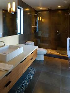 Mesh Design Charcoal Black Pebble Tile Border Contemporary Bathroom