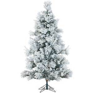 snowy pine 7 5 green artificial christmas tree with flocked branches and stand ebay