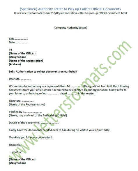 authority letter  pick  collect official documents