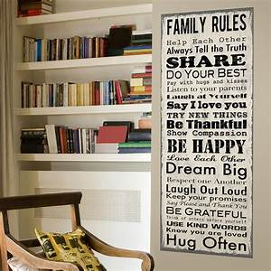 Family rules wall canvas traditional novelty signs for Kitchen cabinets lowes with our family rules wall art