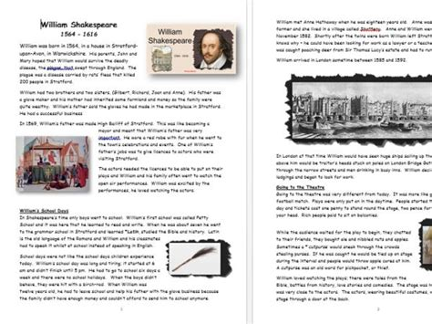 william shakespeare information booklet to