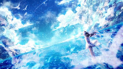 Light Anime Wallpaper - anime bird sky light dress hair original blue