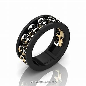 mens modern 14k black and yellow gold black onyx skull With mens black onyx wedding rings