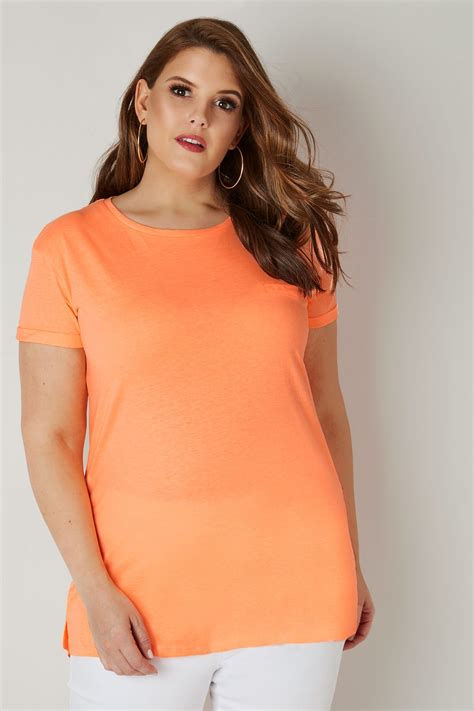 Tshirt Neon Orange, Fausse Poche & Ourlet Arrondi, Taille
