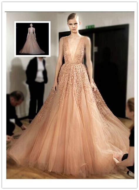 elie saab  summer deep  neck tulle ball gown wedding
