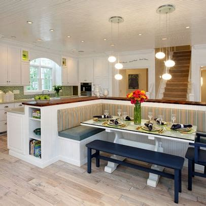 kitchen island with attached table booth seating design pictures remodel decor and ideas 8233