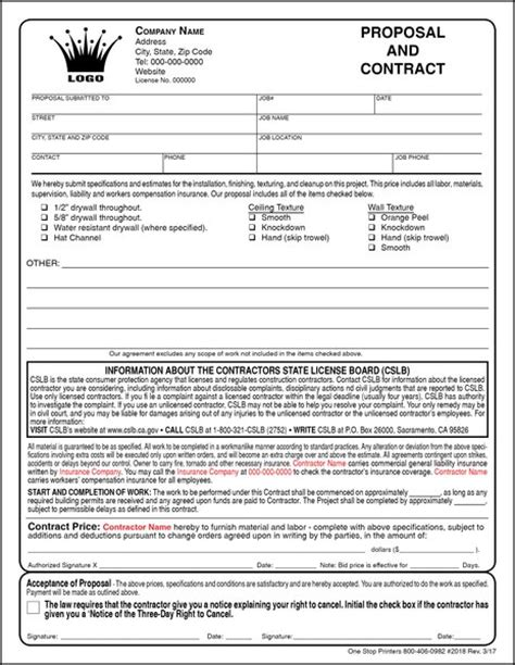 Drywall Bid Template by Contractor Free Print Contractor Forms