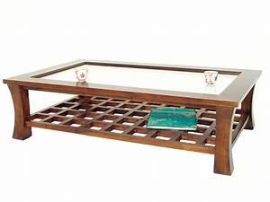 Table Basse Bois Foncé : table basse rectangulaire avec plateau en verre jorg 5392 ~ Teatrodelosmanantiales.com Idées de Décoration