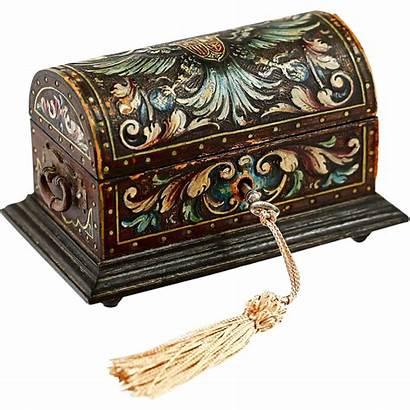Antique Wood Casket Box Painted Lid Leather