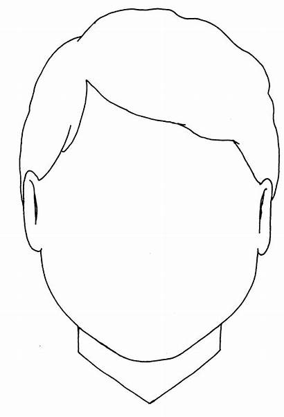 Blank Face Boy Outline Coloring Template Head