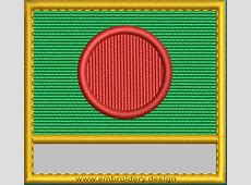 Design embroidery Flag of Bangladesh with Blank Box and