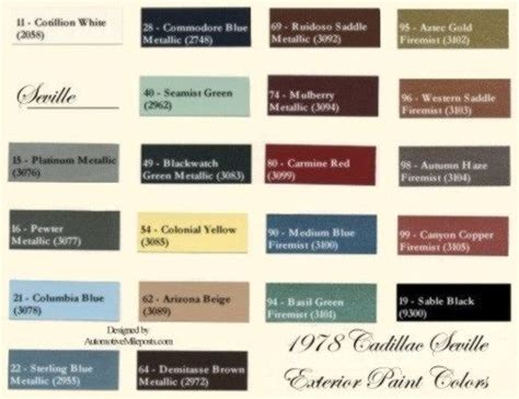 1978 cadillac seville and seville elegante exterior paint color codes formulas and sales names