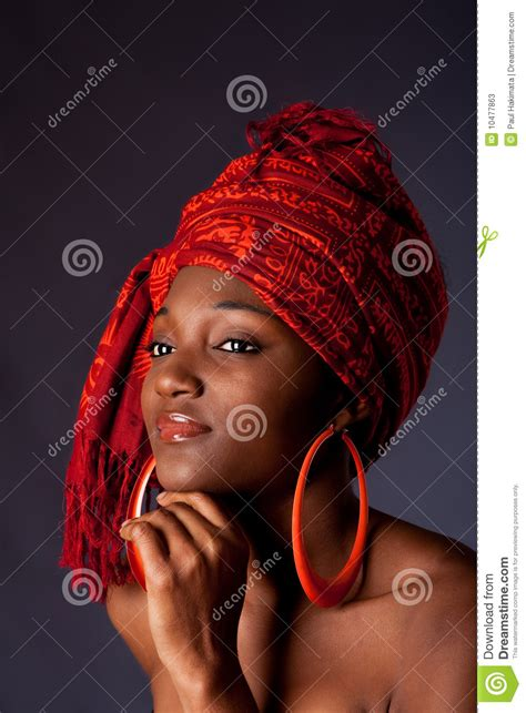 african woman  headwrap stock image image