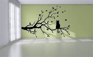 Cat on long tree branch wall sticker animals cats and dogs for Cat wall art
