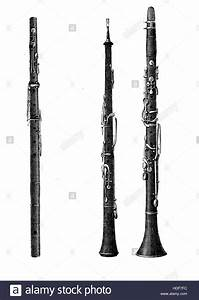 Musical wind instruments, oboe, clarinet and flute, XIX ...