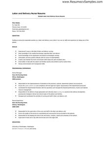 Labor And Delivery Resume Template by Labor And Delivery Resume Berathen