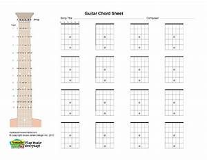 Guitar Blank Printabl Chord Boxes  Horiz  Acoustic Music Tv