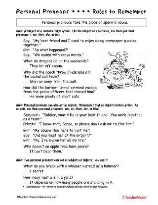 personal pronouns teachervision