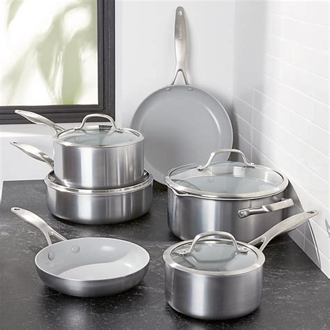 greenpan venice pro  piece cookware set reviews crate  barrel