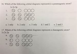 Solved  16  Which Of The Following Orbital Diagrams Repres