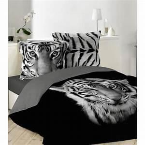 Housse De Couette Noir Et Blanc : housse de couette noir imprime tigre blanc 220x240cm 2 taies d oreiller 63x63 achat vente ~ Teatrodelosmanantiales.com Idées de Décoration