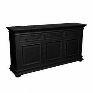 Buffet Bas Noir : buffet bas 3 portes 3 tiroirs noir interior 39 s ~ Teatrodelosmanantiales.com Idées de Décoration