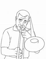 Trombone Coloring Instruments Musical Case Brass Trombonist sketch template