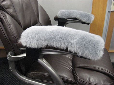 desk chair arm covers grey real merino sheepskin arm rest covers pads office
