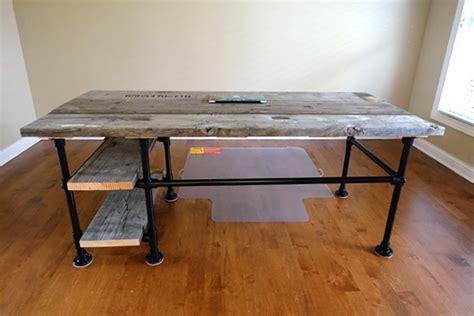 reclaimed wood pipe desk  side shelves desk week