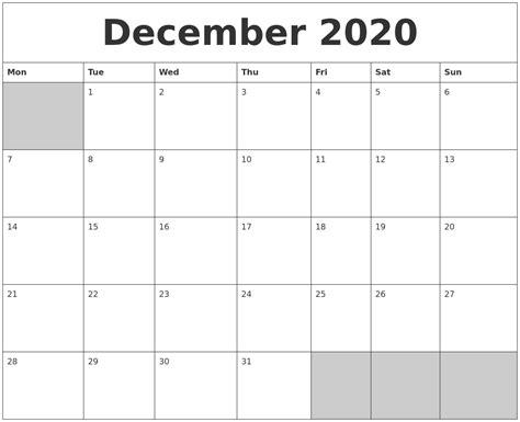 december blank printable calendar