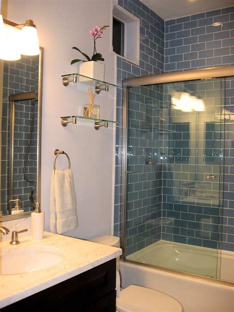 glass subway tile bathroom ideas sky blue glass subway tile shower how high the tile