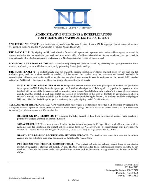 ncaa letter of intent ncaa letter of intent how to format cover letter 12774
