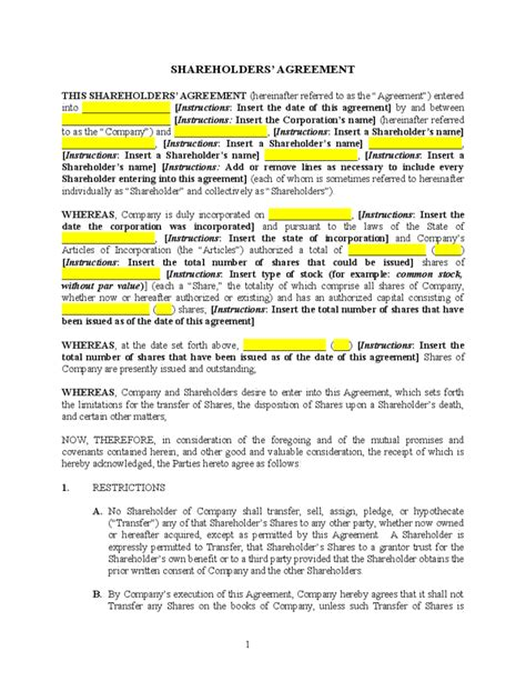 Simple Shareholders Agreement Template by Blank Shareholders Agreement Template Free