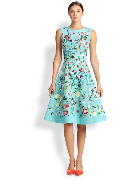 floral embroidered a line dress oscar de la renta embroidered floral a line dress lyst