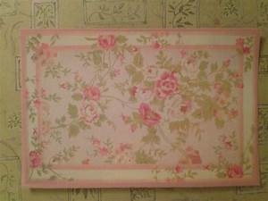 Dollhouse Miniature Romantic Shabby Chic Pink Floral Rug