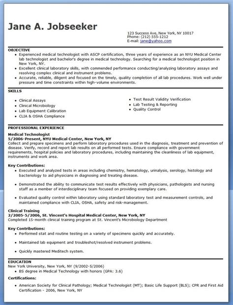 clinical laboratory technician resume sles technologist resume exle med tech things resume exles resume and